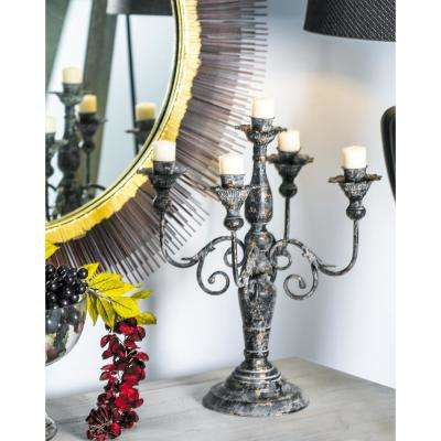 Distressed Black Classic Design 5-Light Iron Candle Holder