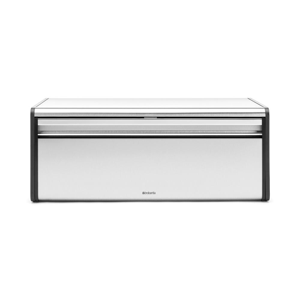 Brabantia Fall Front Bread Box, Matt Steel Fingerprint Proof A bread bin that doesn't take up extra space in your kitchen. Our roll top bread bin has a flat top, so you can store canisters etc. on top of it. With large grip for easy opening. Color: Matt Steel Fingerprint Proof.