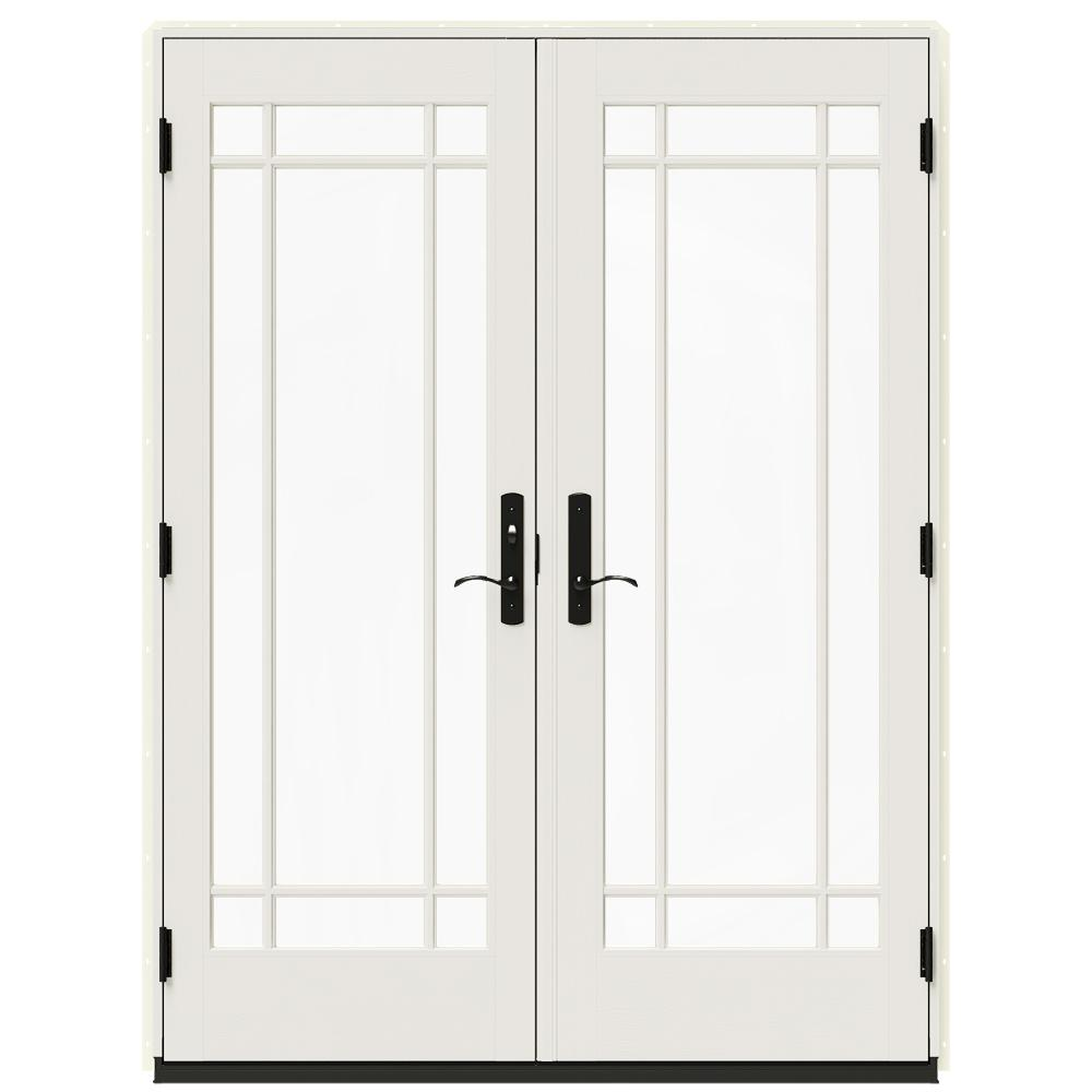 Jeld Wen 60 In X 80 In W 4500 Vanilla Clad Wood Right Hand 9 Lite French Patio Door W White