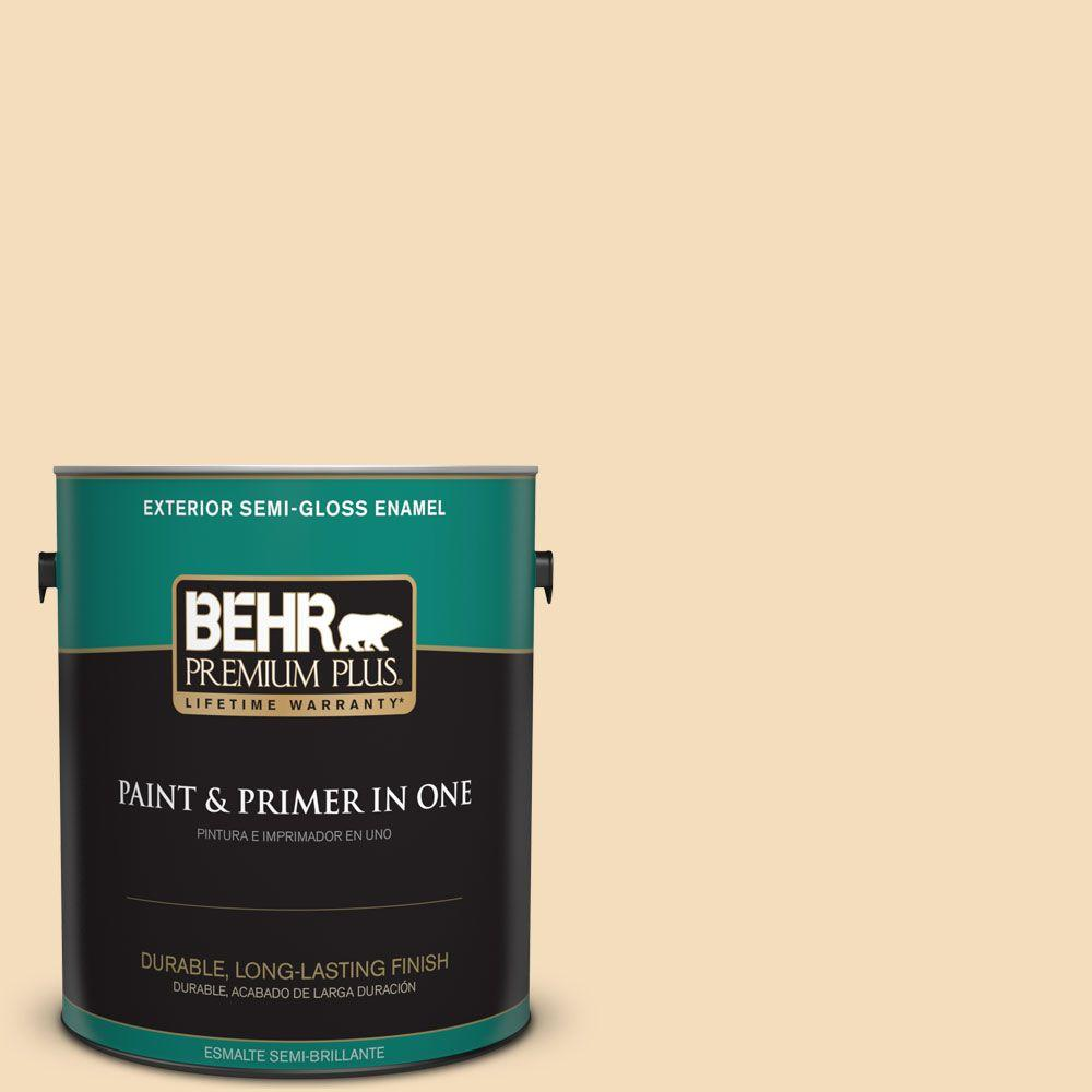 BEHR Premium Plus 1-gal. #YL-W1 Spinning Silk Semi-Gloss Enamel Exterior Paint