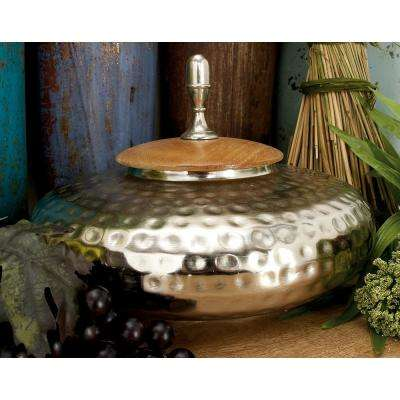 8 in. Silver Iron Urn-Type Flattened Round Jar with Circular Oak Brown Wood Lid