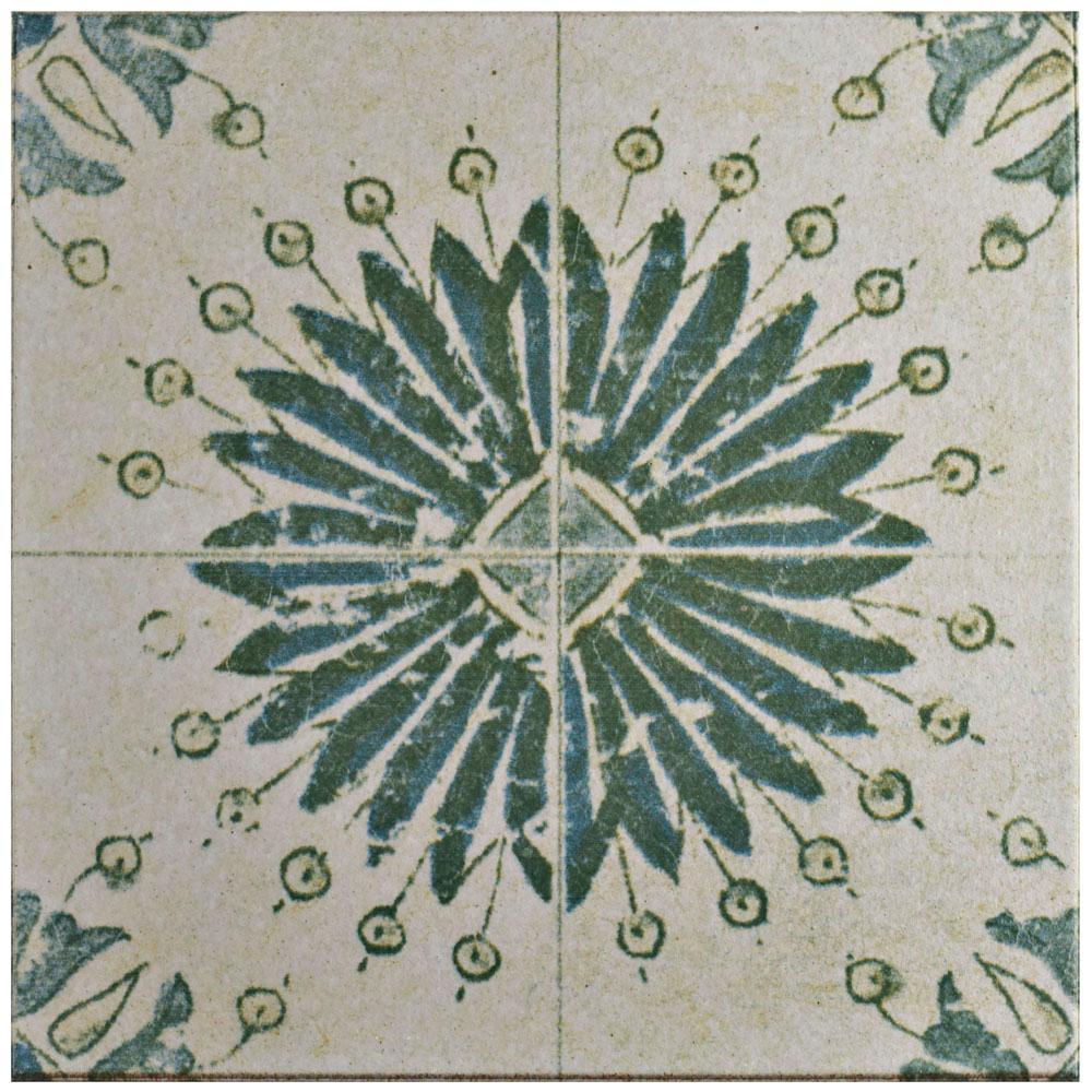 Klinker Retro Blanco Aster Encaustic 12-3/4 in. x 12-3/4 in. Ceramic Floor and Wall Quarry Tile
