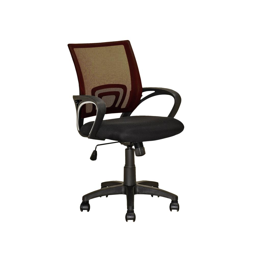 Workspace Black and Dark Brown Mesh Back Office Chair