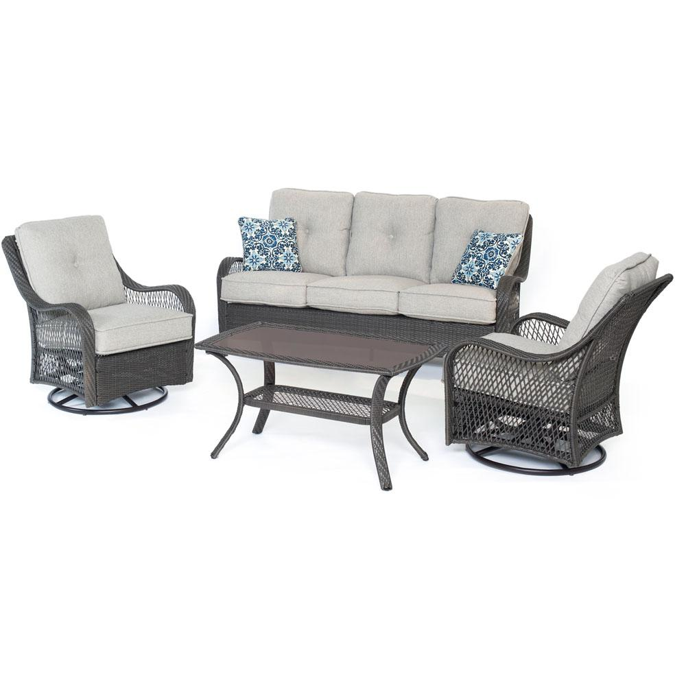 Merritt 4-Piece Steel Outdoor Conversation Set with Gray Cushions