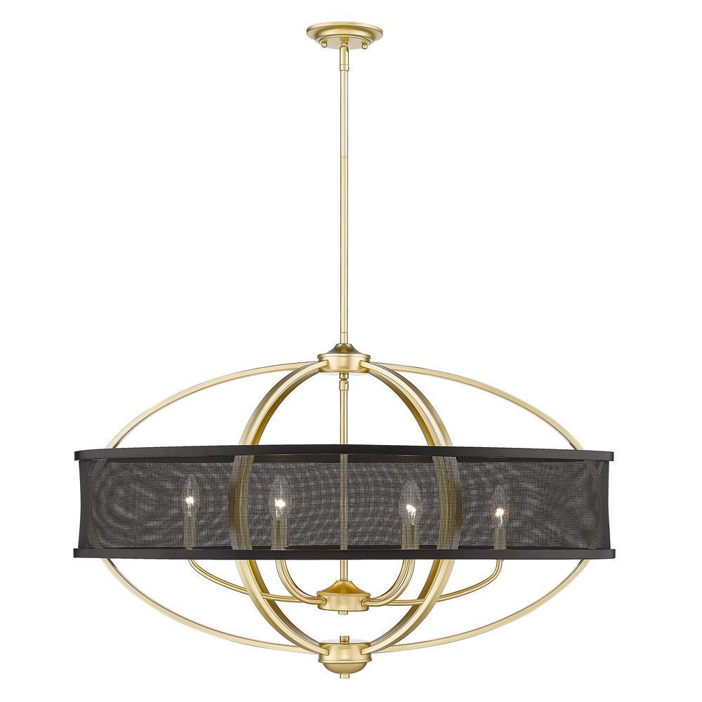 Golden Lighting Colson 6 Light Olympic Gold Linear Pendant 3167 Lp Og Blk The Home Depot