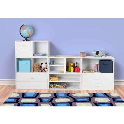 15 in. White 2-Drawer Cube