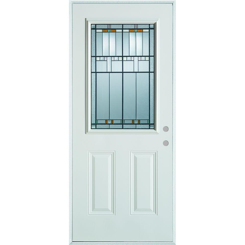 37.375 in. x 82.375 in. Architectural 1/2 Lite 2-Panel Painted White