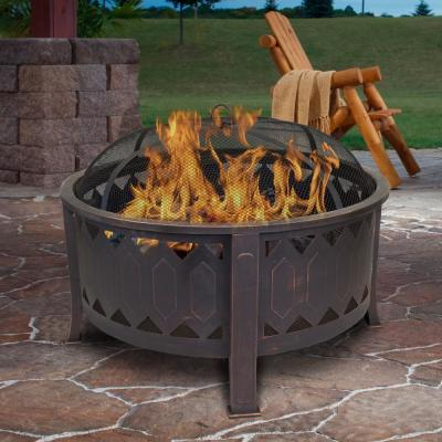 29.75 in. W x 24 in. H Outdoor Round Leisure Metal Wood Burning Fire Pit in Oil Rubbed Bronze
