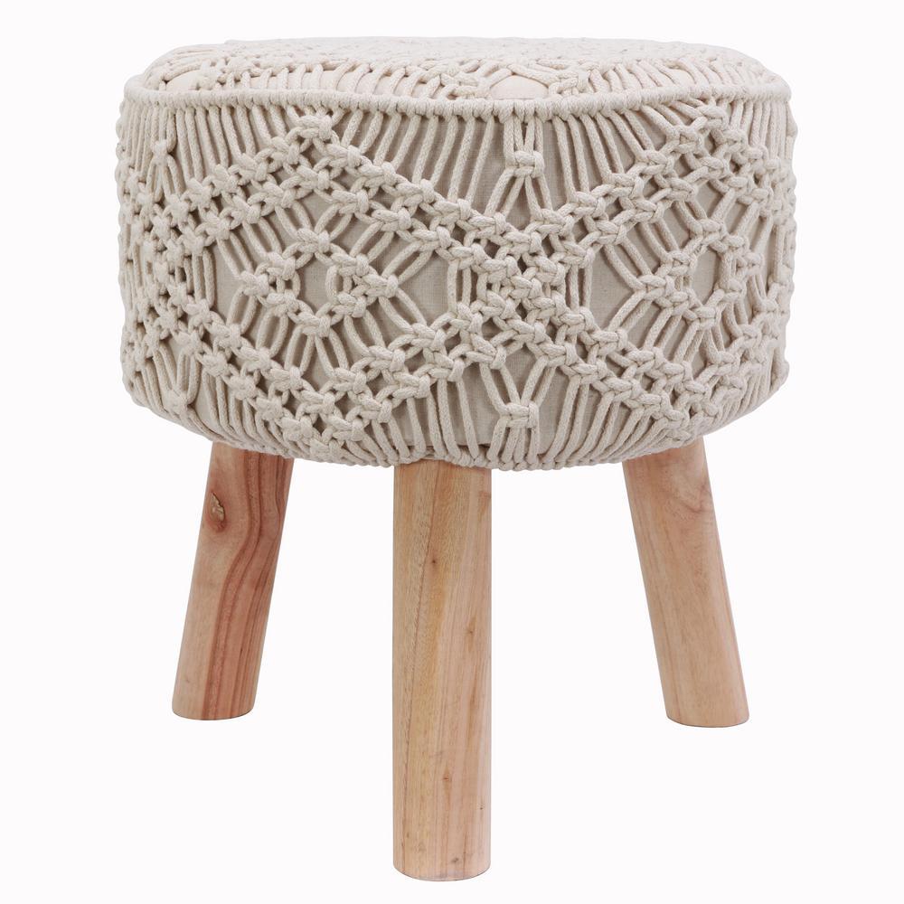Nirobi 18 in. Natural Cream Crocheted Stool