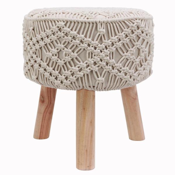 Decor Therapy Nirobi 18 in. Natural Cream Crocheted Stool FR8740