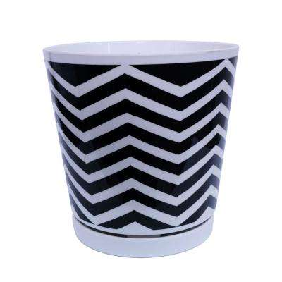 8.75 in. Black and White Chevron Melamine Planter with Self Watering Saucer