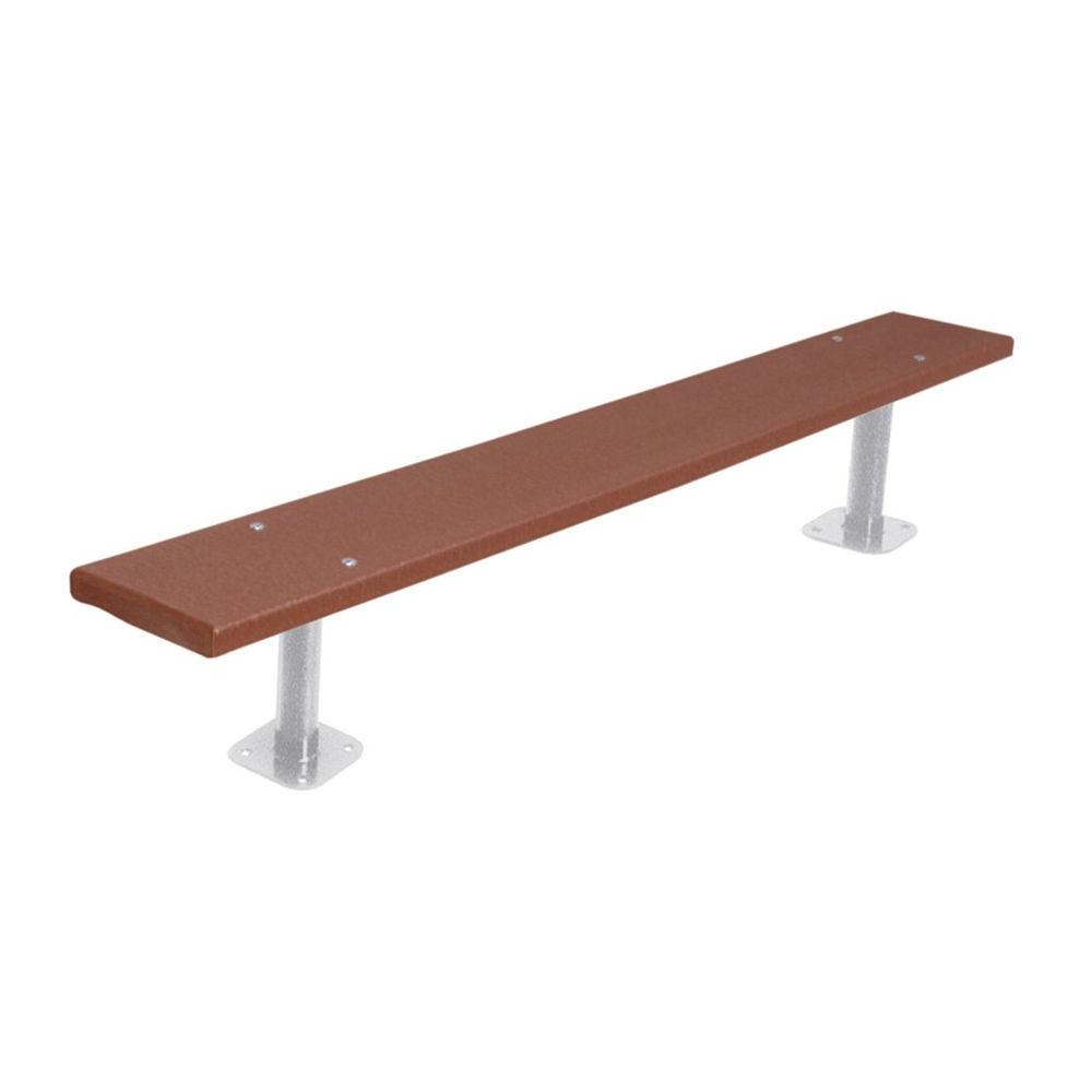 6 ft. Brown Commercial Park Recycled Plastic Bench without Back Surface