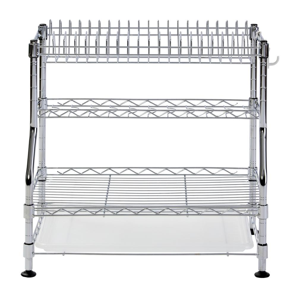 Muscle Rack 17 in. H x 18 in. W x 12 in. D 3-Tier Chrome Wire Dish ...