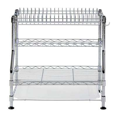 17 in. H x 18 in. W x 12 in. D 3-Tier Chrome Wire Dish Rack