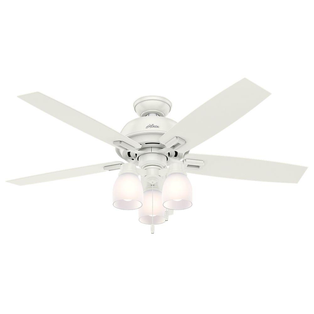 Hunter White Fan Part - 31: Hunter Donegan 52 In. LED Indoor Fresh White Ceiling Fan With 3-Light