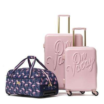 On Vacay 3-Piece Pink Nested Luggage Set
