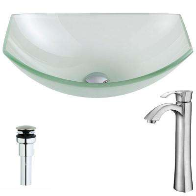 Pendant Series Deco-Glass Vessel Sink in Lustrous Frosted with Harmony Faucet in Brushed Nickel