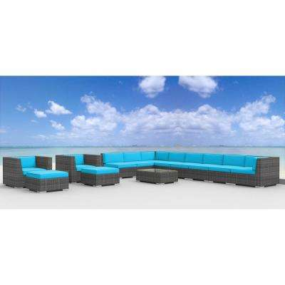 Newport 14-Piece Wicker Outdoor Sectional Seating Set with Sea Blue Cushions