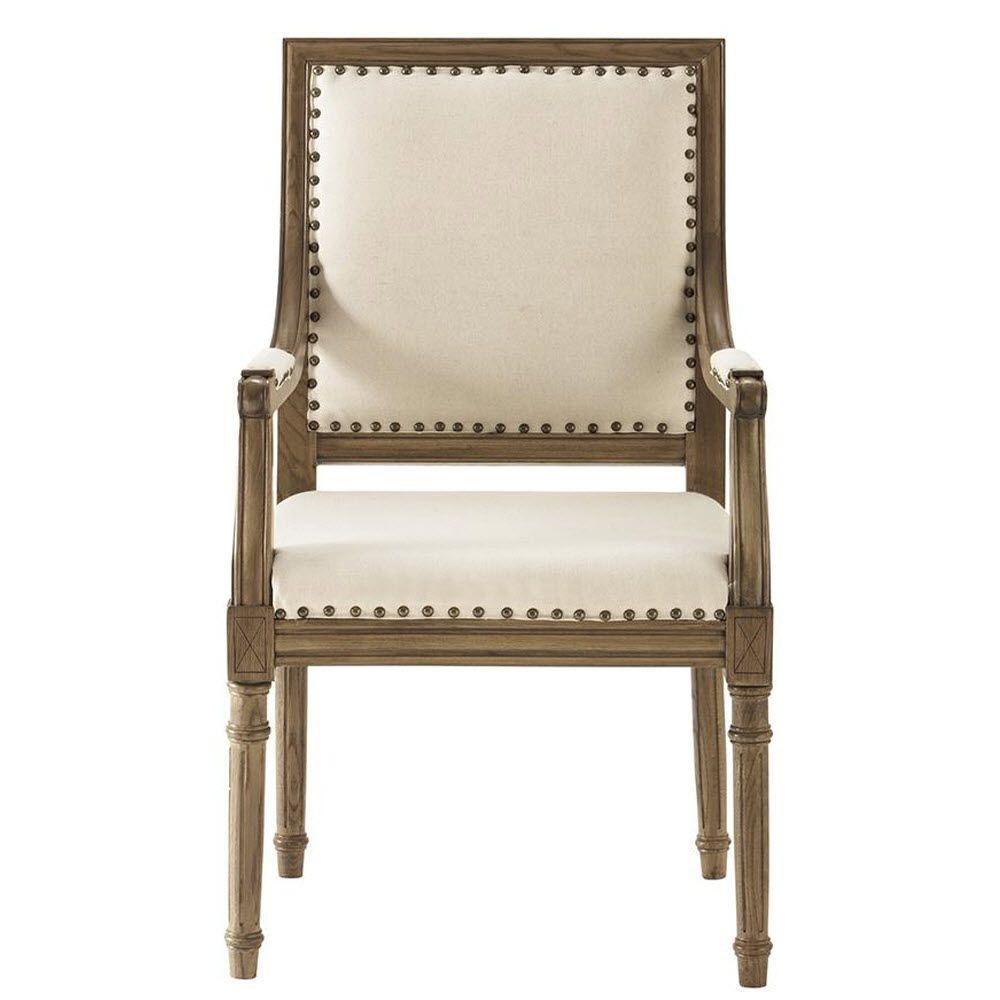 Home Decorators Collection Marais Solid Ivory Cotton Blend Arm Chair