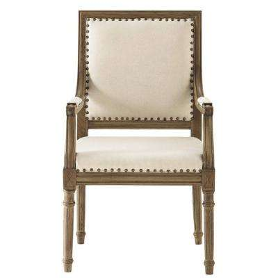 Marais Solid Ivory Cotton Blend Arm Chair