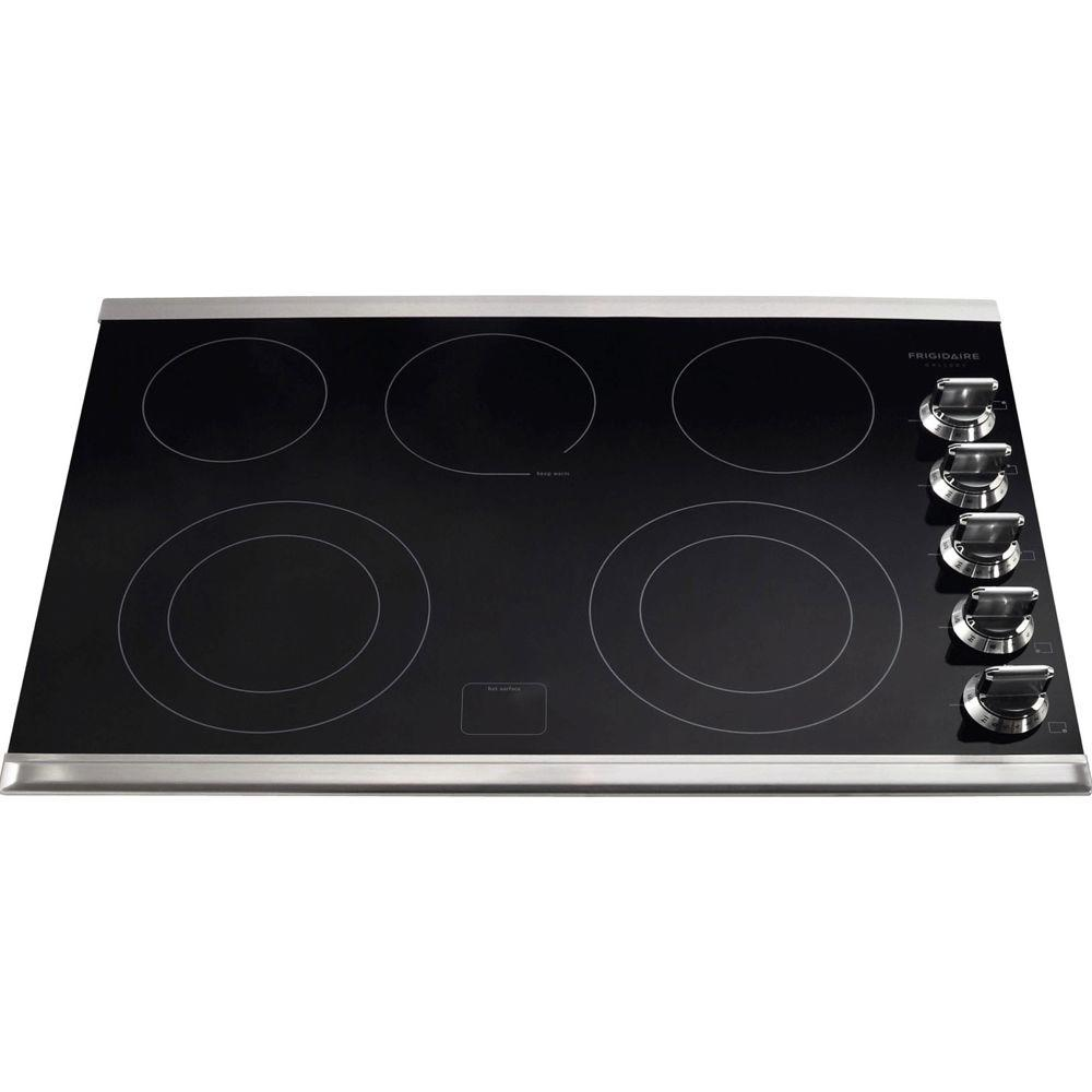 2 frigidaire gallery 30 in ceramic glass electric cooktop in stainless steel with 5 burners including