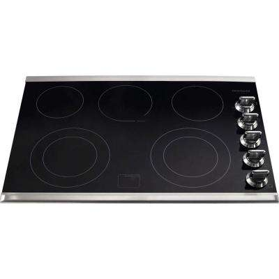 30 in. Ceramic Glass Electric Cooktop in Stainless Steel with 5 Burners including a Warming Zone