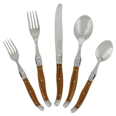 Laguiole 20-Piece Stainless Steel/Wood Grain Flatware Set (Service for 4)