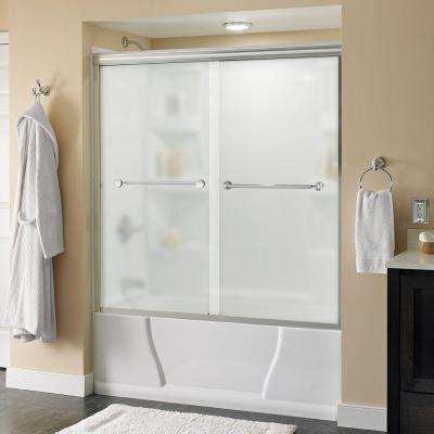Mandara 60 in. x 58-1/8 in. Semi-Frameless Sliding Bathtub Door in Chrome with Niebla Glass