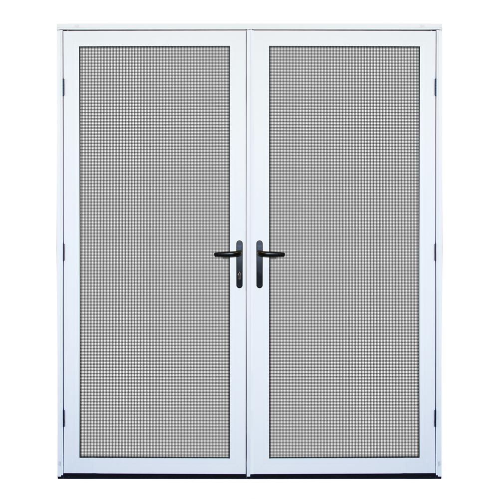 Unique Home Designs 64 in  x 80 in  White Surface Mount Ultimate Security  Screen Door with Meshtec Screen