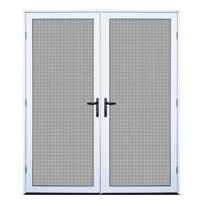 64 in. x 80 in. White Surface Mount Ultimate Security Screen Door with Meshtec Screen