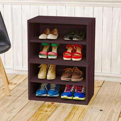 Blox System Florence Eco zBoard Tool Free Assembly Stackable 4-Cubby Espresso Modular Bookcase Storage Shelf
