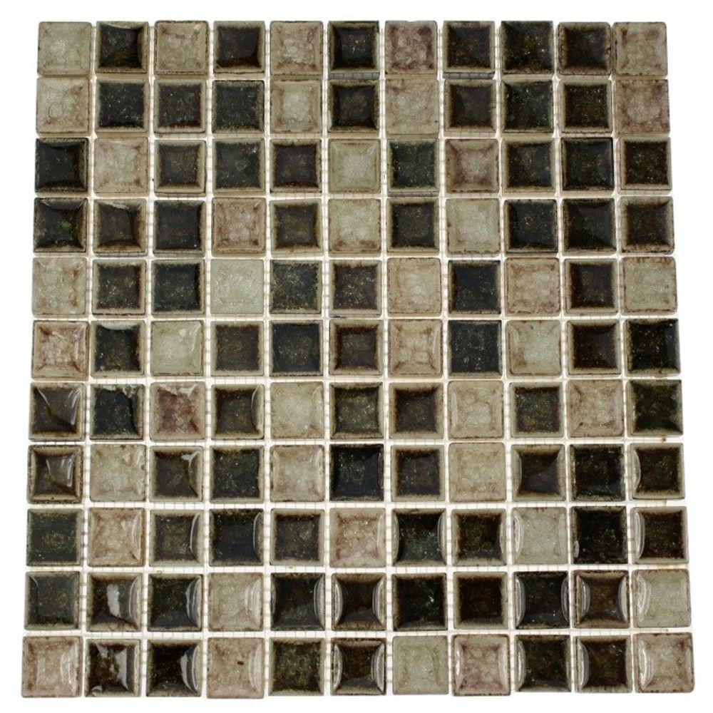 Splashback Tile Roman Selection IL Fango 12 in. x 12 in. x 8 mm Glass Mosaic Floor and Wall Tile