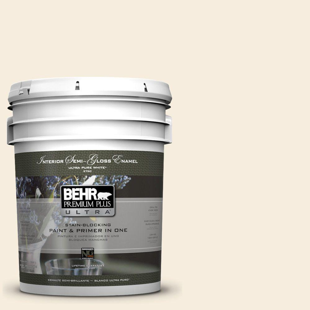 BEHR Premium Plus Ultra 5-gal. #ECC-52-2 Aristocrat Ivory Semi-Gloss Enamel Interior Paint