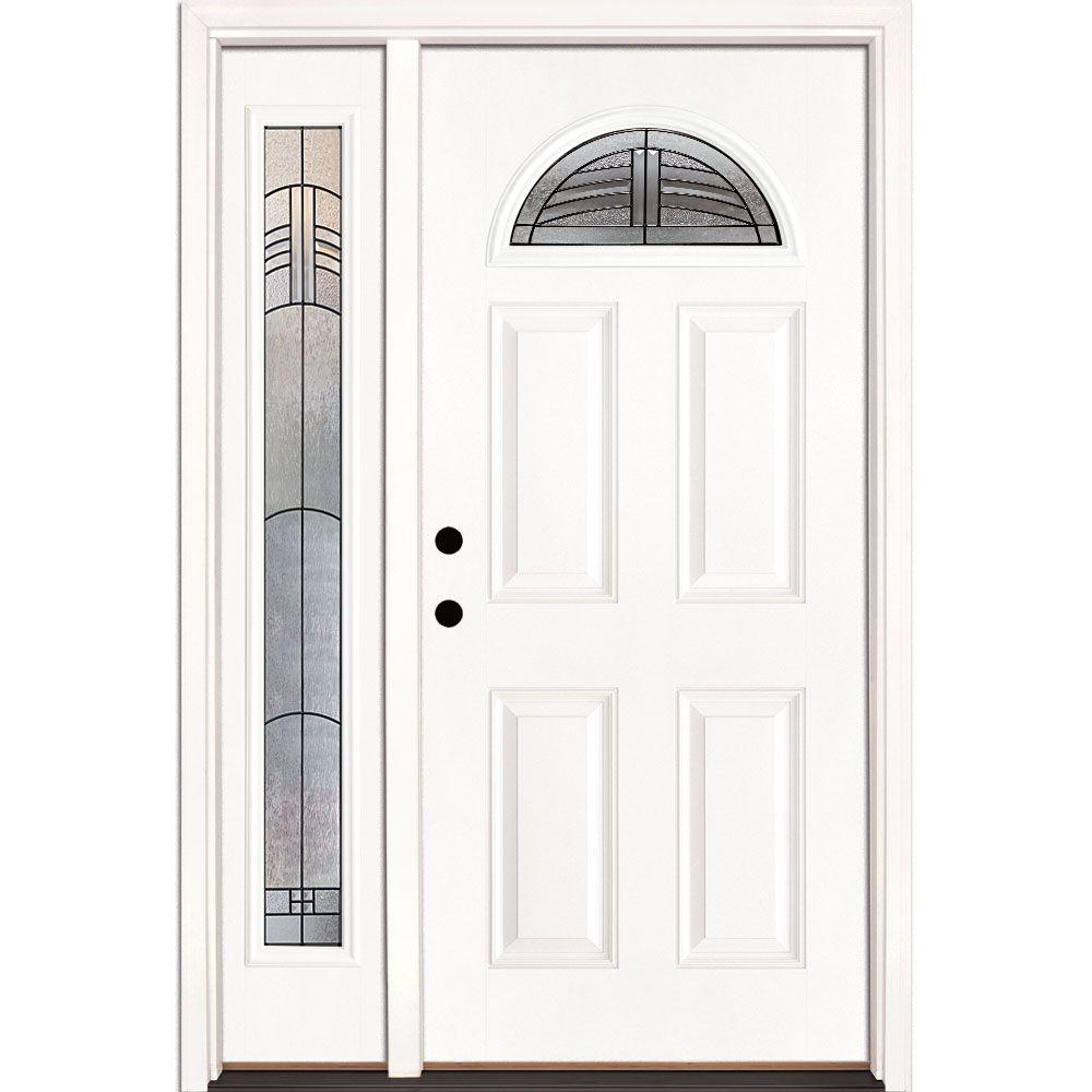 Feather River Doors 50.5 in. x 81.625 in. Rochester Patina Fan Lite Unfinished Smooth Right-Hand Fiberglass Prehung Front Door with Sidelite