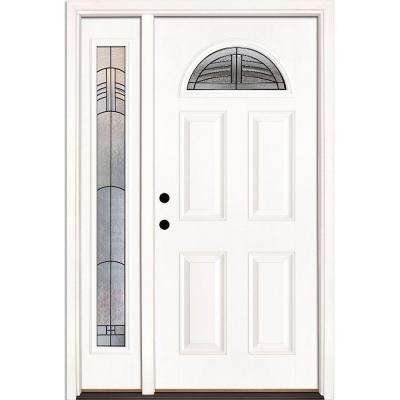 50.5 in. x 81.625 in. Rochester Patina Fan Lite Unfinished Smooth Right-Hand Fiberglass Prehung Front Door with Sidelite