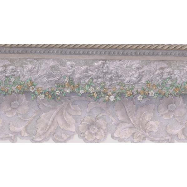 Beige White Green Floral Prepasted Wallpaper Border