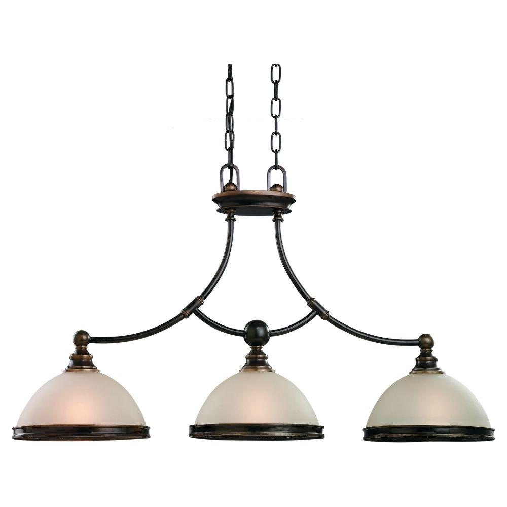 Sea Gull Lighting Warwick 3-Light Autumn Bronze Island Pendant with Smoky Parchment Glass