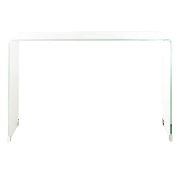 Crysta 44 in. Clear/White Rectangle Glass Console Table