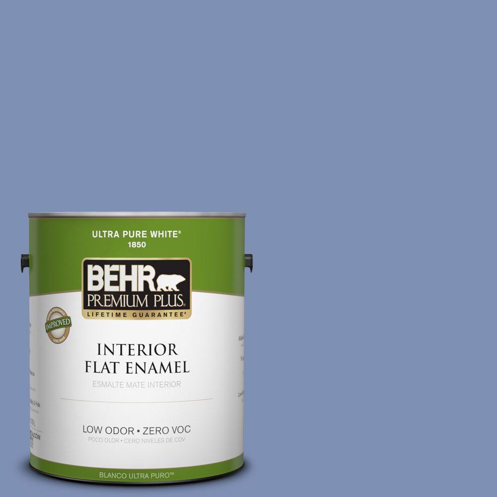 BEHR Premium Plus 1-gal. #600D-5 Babbling Brook Zero VOC Flat Enamel Interior Paint-DISCONTINUED