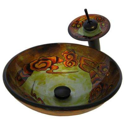 Glass Vessel Sink in Floral with Sealer, Mounting Ring, Drain and Faucet in Oil Rubbed Bronze