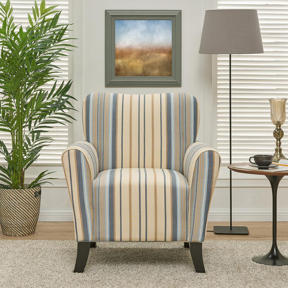 Handy Living Sasha Blue Stripe Flared Arm Chair