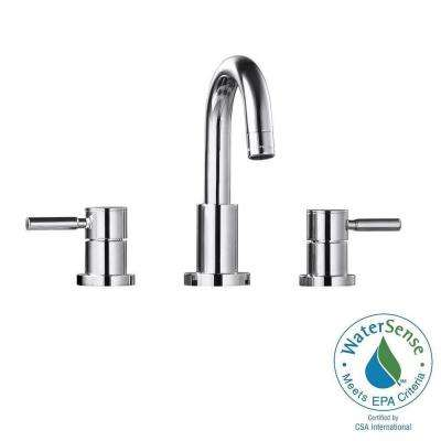 Positano 8 in. Widespread 2-Handle High-Arc Bathroom Faucet in Chrome with Drain