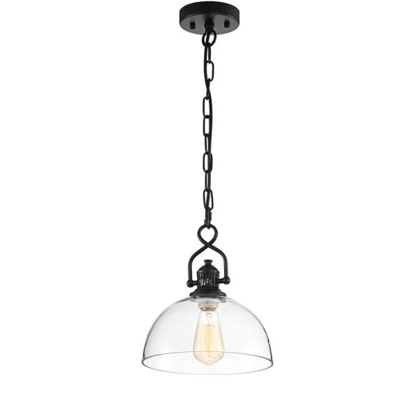 1-Light Black Mini Pendant with Dome Shaped Clear Glass