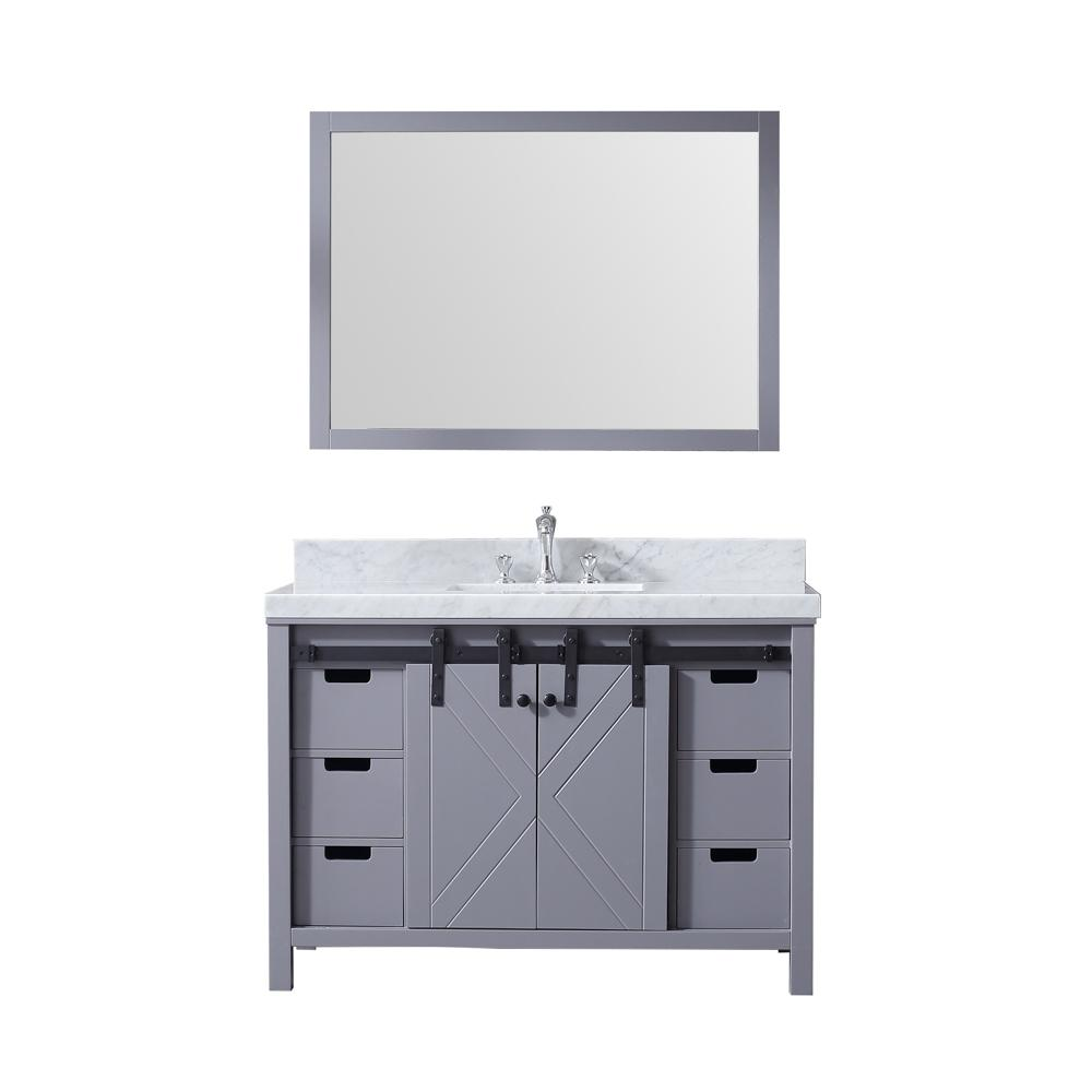 Lexora Marsyas 48 in. Single Bath Vanity in Dark Grey w/ White Carrera Marble Top w/ White Square Sink and 44 in. Mirror