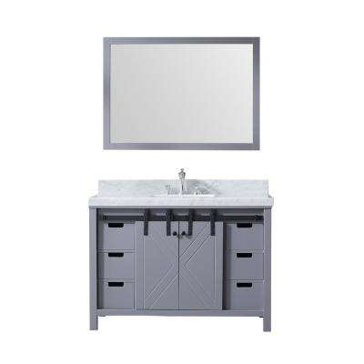 Marsyas 48 in. Single Bath Vanity in Dark Grey w/ White Carrera Marble Top w/ White Square Sink and 44 in. Mirror