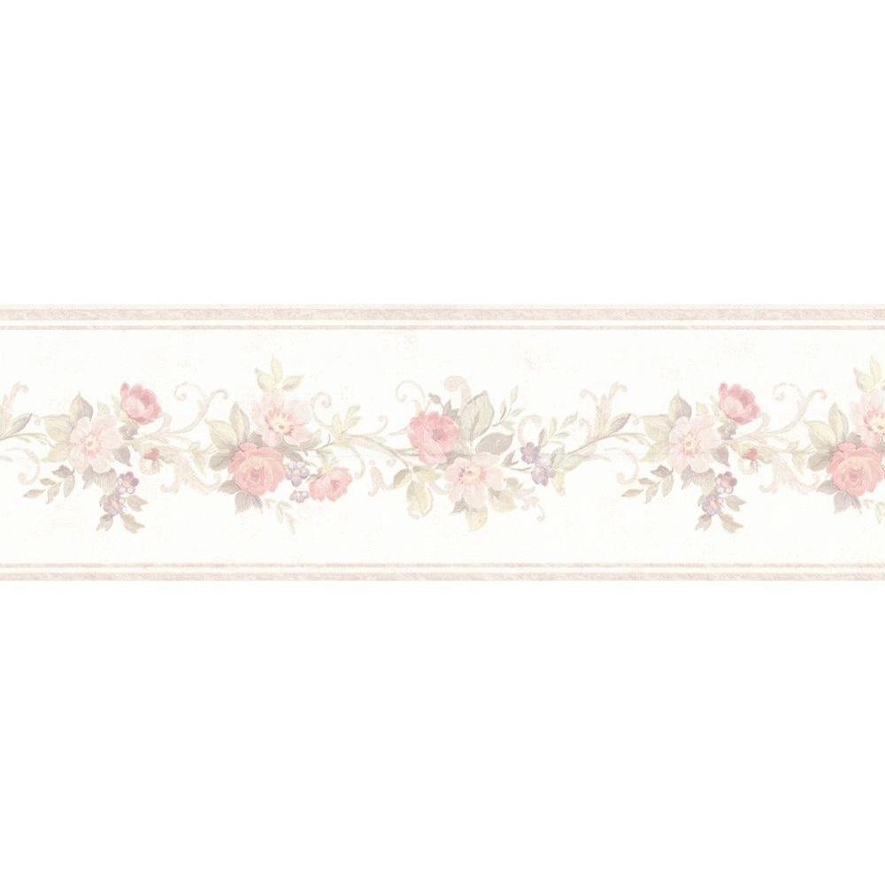 Lory Blush Floral Wallpaper Border Sample