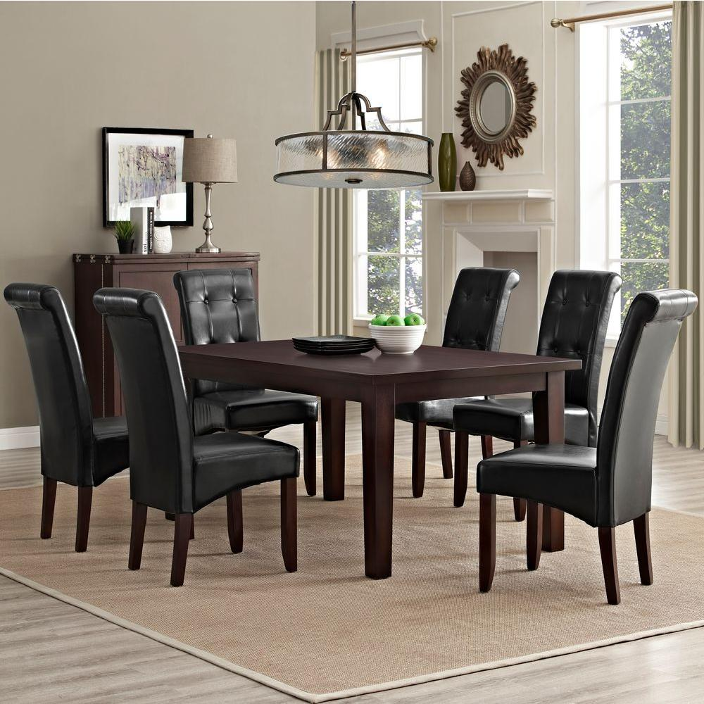 Simpli home cosmopolitan 7 piece midnight black dining set for 7 piece dining room sets under 1000