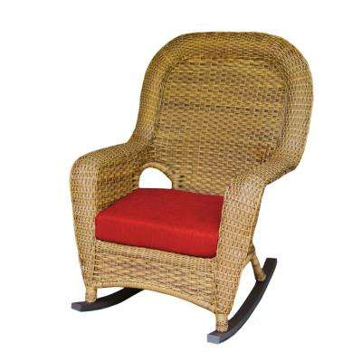 Sea Pines Mojave Wicker Outdoor Rocking Chair with Rave Cherry Cushion
