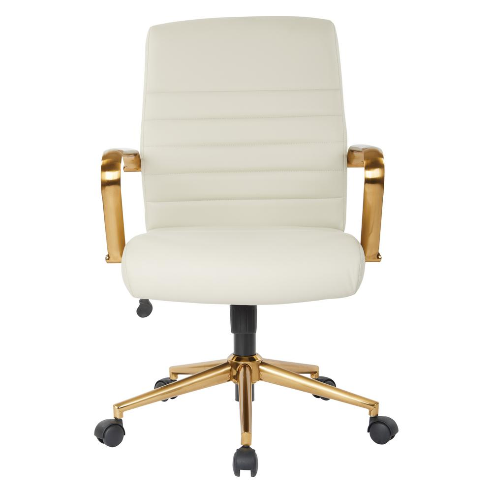 Mid Back Cream Faux Leather Chair