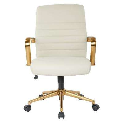 Mid-Back Cream Faux Leather Chair with Gold Arms and Base
